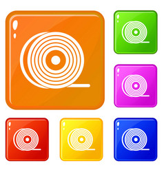 Abs or pla filament coil icons set color vector