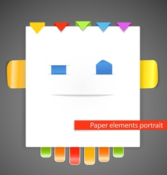 Abstract portrait of paper elements vector image