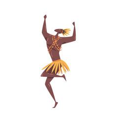 African ritual dance young man dancing wearing vector