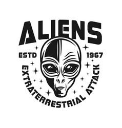Alien head black emblem in vintage style vector