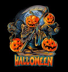 angel death halloween pumpkin head with crow vector image