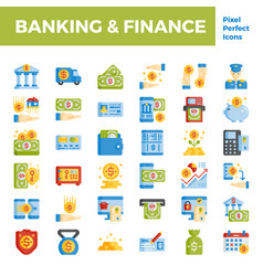 Banking and finance flat icon base on pixel vector