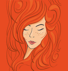 Beautiful face of a red-haired girl in wavy hair vector