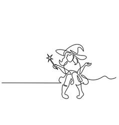 beautiful mage woman holding magic wand vector image