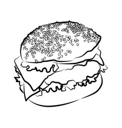 Big burger on white vector