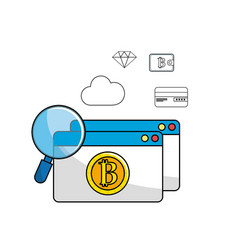 Bitcoin digial and electronic currency with icons vector
