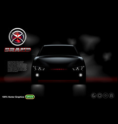 Black car on black background with logo and descri vector