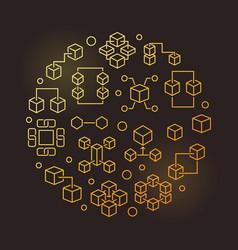 Blockchain round line golden modern vector