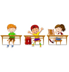 Boys and girl sitting on their desks vector image