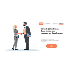 Business couple handshake agreement concept vector