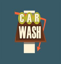 Car wash retro street signboard vintage banner vector