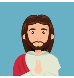 cartoon face Jesus christ design isolated vector image