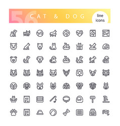 Cat and dog line icons set vector