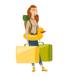 Cheerful traveler woman in inflatable ring vector