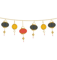 Chinese lamps hanging design vector