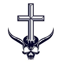 Christian cross kills dead head skull satan vector