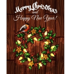 Christmas wreath with holly on wooden background vector