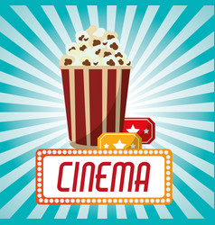 Cinema pop corn tickets blue stripes background vector