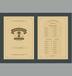 coffee menu design template flyer for bar or cafe vector image