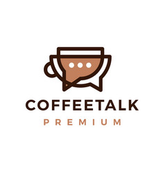 coffee talk chat bubble outline logo icon vector image