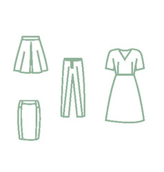 collection of pixel art icons of clothes vector image