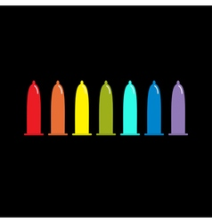 Condom rainbow icon set Protection Black vector image