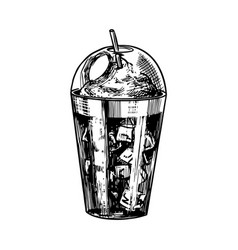 cup coffee in vintage style ice coffee vector image