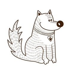Cute character Dog with heart on collar vector