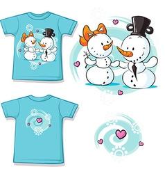 cute snowman in love shirt vector image
