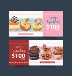 Dessert voucher design with custard cake vector