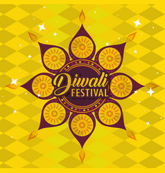 diwali flower and hindu mandalas background vector image