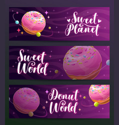 donut shop creative advertising banners set sweet vector image