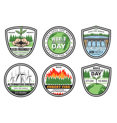 Earth environment and ecology icons vector