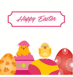 Easter cute chicks with decorative eggs over white vector