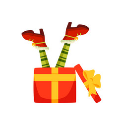 elf legs in gift box flat vector image