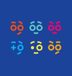 emoji set modern professional icons smile in blue vector image