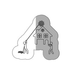 Figure person with pulleys hanging the house vector