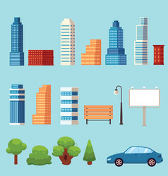 Flat city urban objects set vector