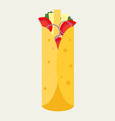 flat design burrito icon vector image