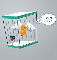 Flying dollar trapped in a cage vector