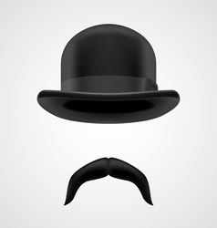 funny gentleman with moustaches and bowler hat vector image