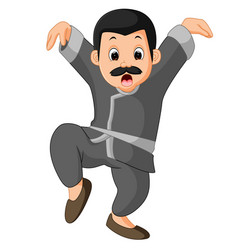 funny kung fu cartoon vector image