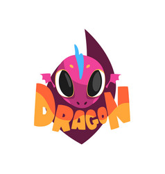 Funny purple dragon with big eyes cartoon vector