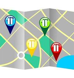 Gift giving destination tracking map vector image