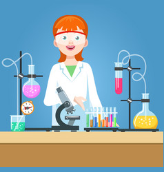Girl scientist in chemical laboratory vector