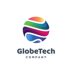 Global tech logo design template vector