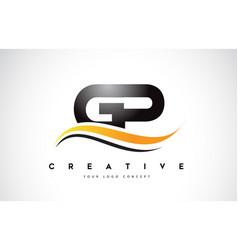 gp g p swoosh letter logo design with modern vector image