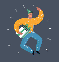 handsome romantic guy jump while holding a present vector image