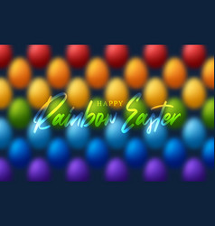 happy easter rainbow egg pattern background vector image