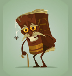 happy smiling old book mascot character vector image